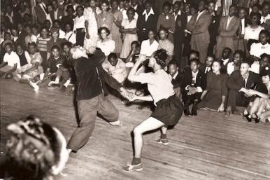 Dancers get limber at the Savoy Ballroom, circa 1930s. Courtesy kexp.org